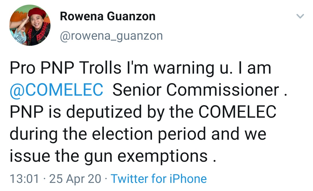 Pro PNP Trolls I'm warning u. I am @COMELEC Senior Commissioner . PNP is deputized by the COMELEC during the election period and we issue the gun exemptions