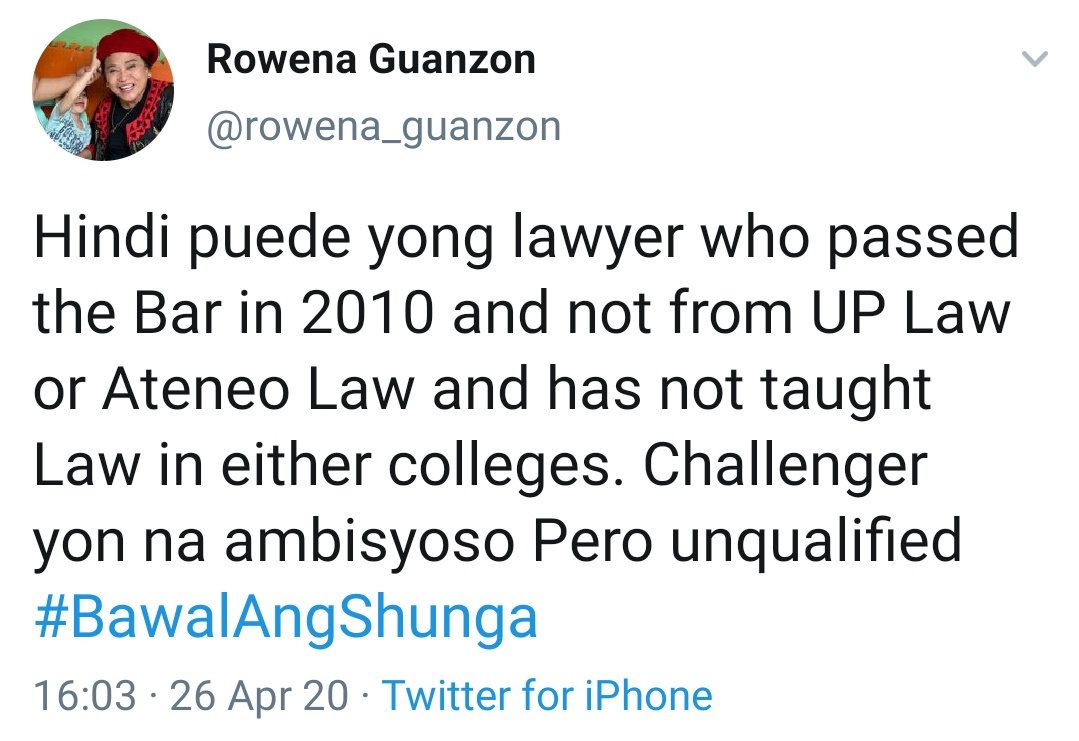 Hindi puede yong lawyer who passed the Bar in 2010 and not from UP Law or Ateneo Law and has not taught Law in either colleges. Challenger yon na ambisyoso Pero unqualified #BawalAngShunga