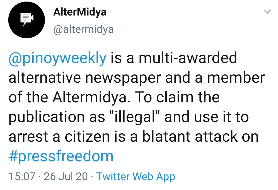 "@pinoyweekly is a multi-awarded alternative newspaper and a member of the Altermidya. To claim the publication as ""illegal"" and use it to arrest a citizen is a blatant attack on #pressfreedom"