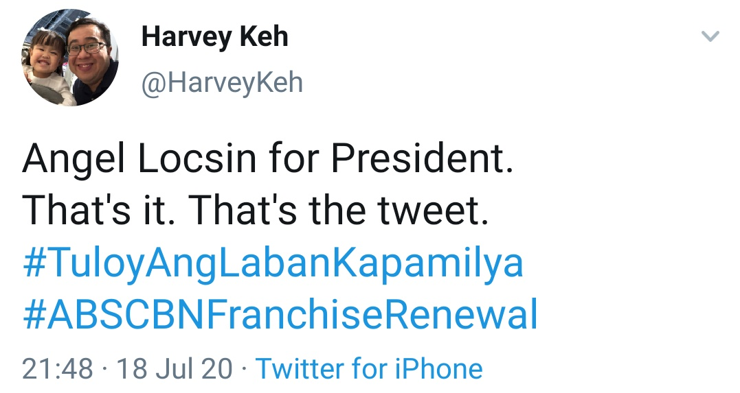 Angel Locsin for President. That's it. That's the tweet. #TuloyAngLabanKapamilya #ABSCBNFranchiseRenewal