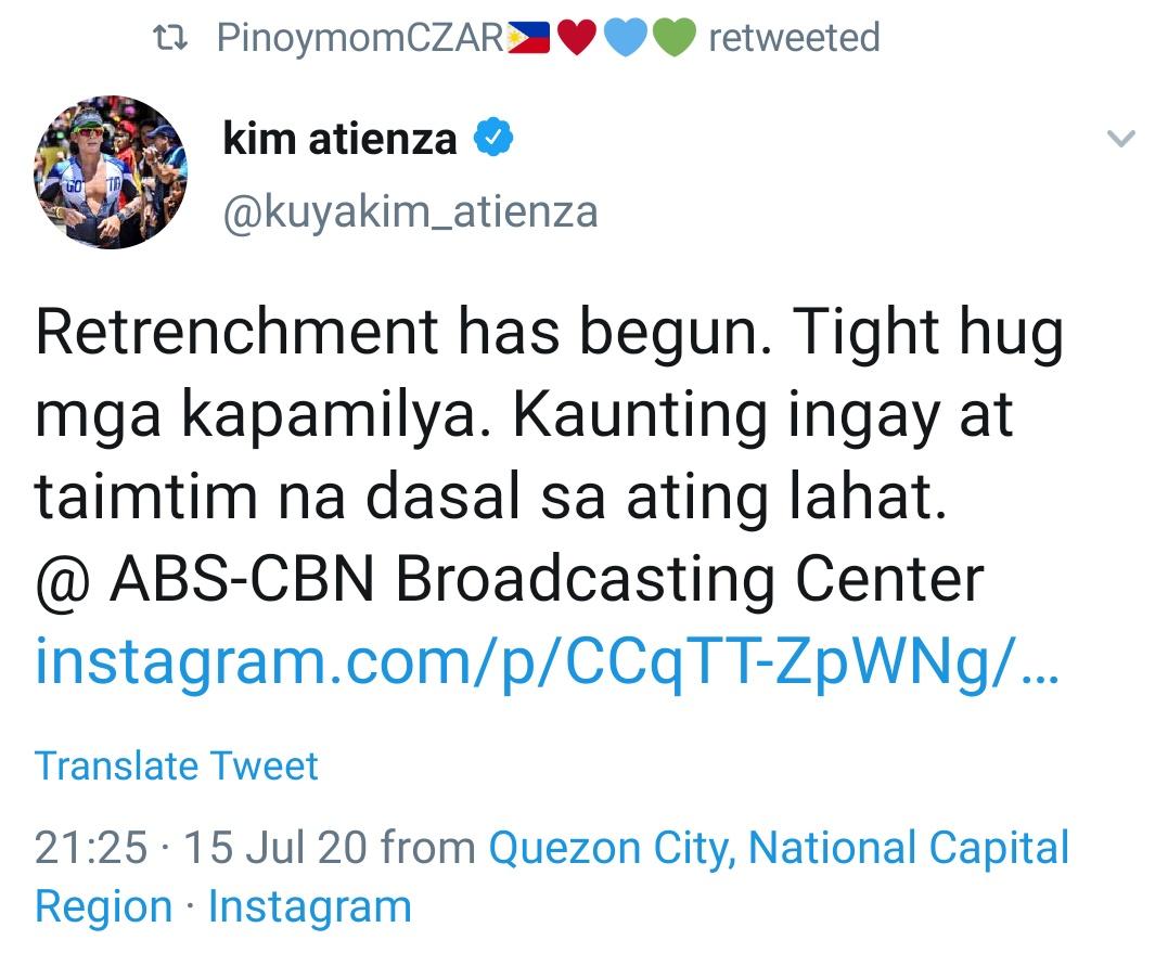 Retrenchment has begun. Tight hug mga kapamilya. Kaunting ingay at taimtim na dasal sa ating lahat. @ ABS-CBN Broadcasting Center