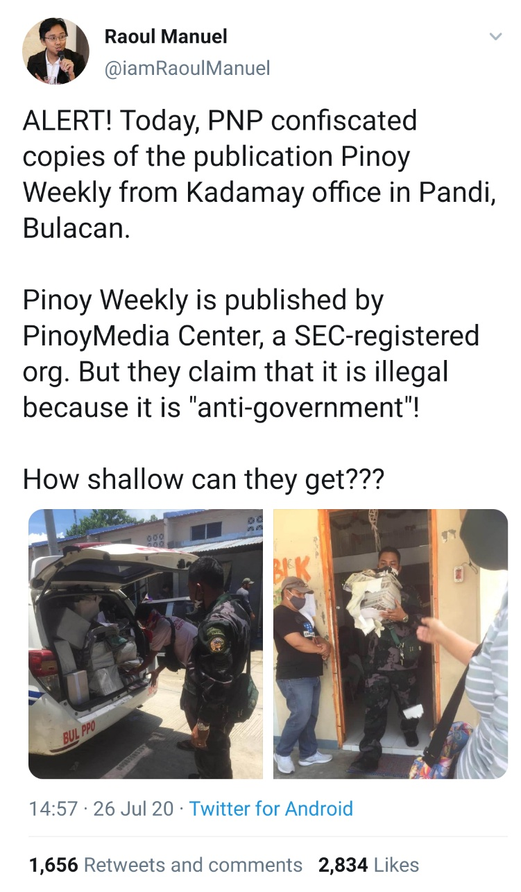 ALERT! Today, PNP confiscated copies of the publication Pinoy Weekly from Kadamay office in Pandi, Bulacan. Pinoy Weekly is published by PinoyMedia Center, a SEC-registered org. But they claim that it is illegal because it is 'anti-government'!  How shallow can they get???