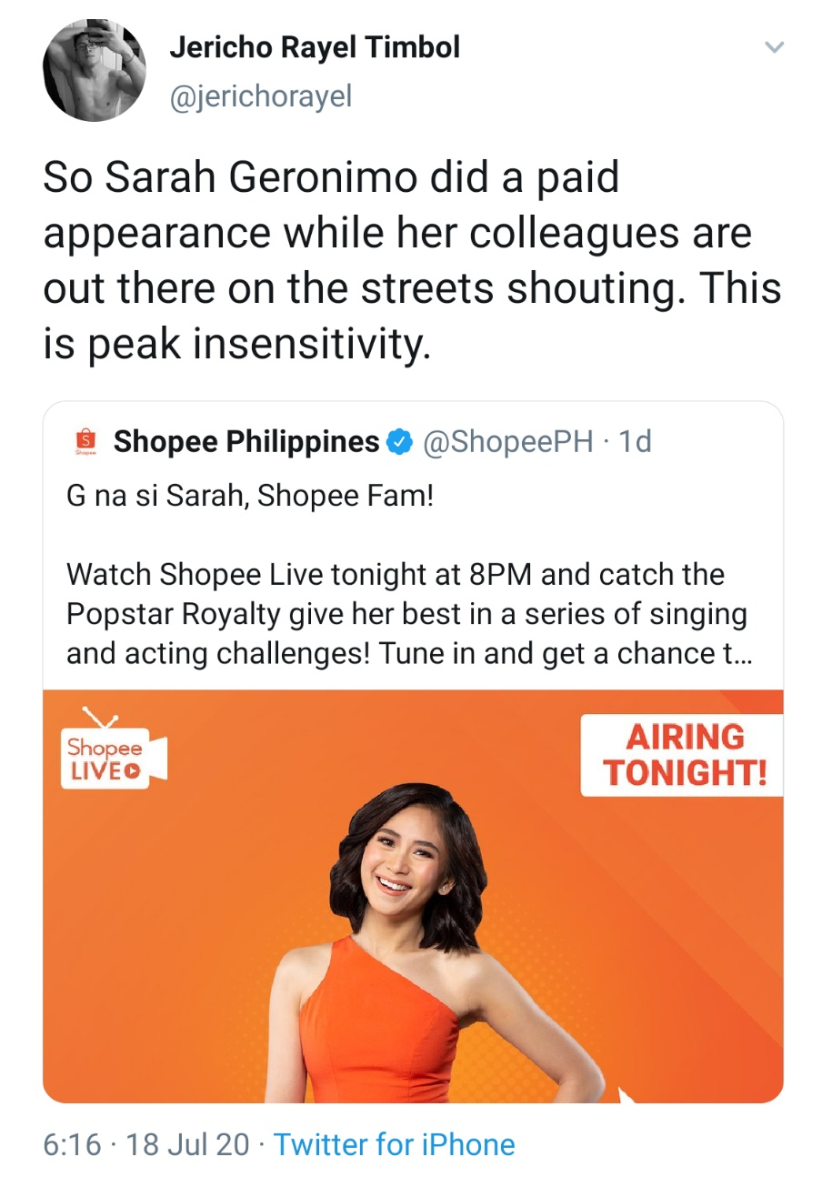 So Sarah Geronimo did a paid appearance while her colleagues are out there on the streets shouting. This is peak insensitivity.