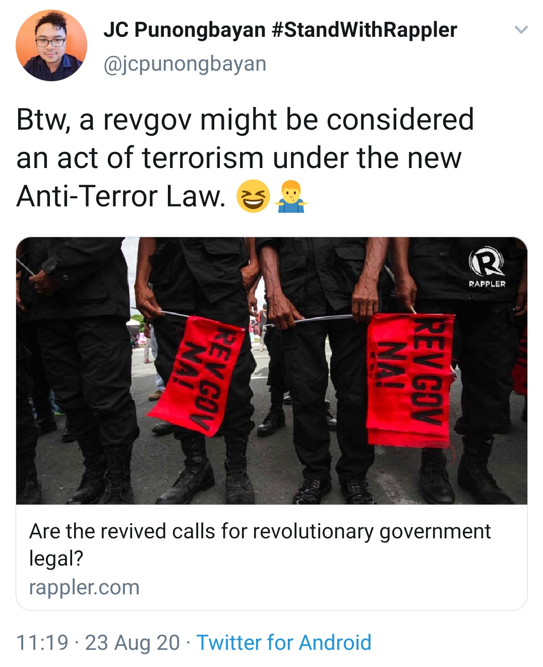Btw, a revgov might be considered an act of terrorism under the new Anti-Terror Law.