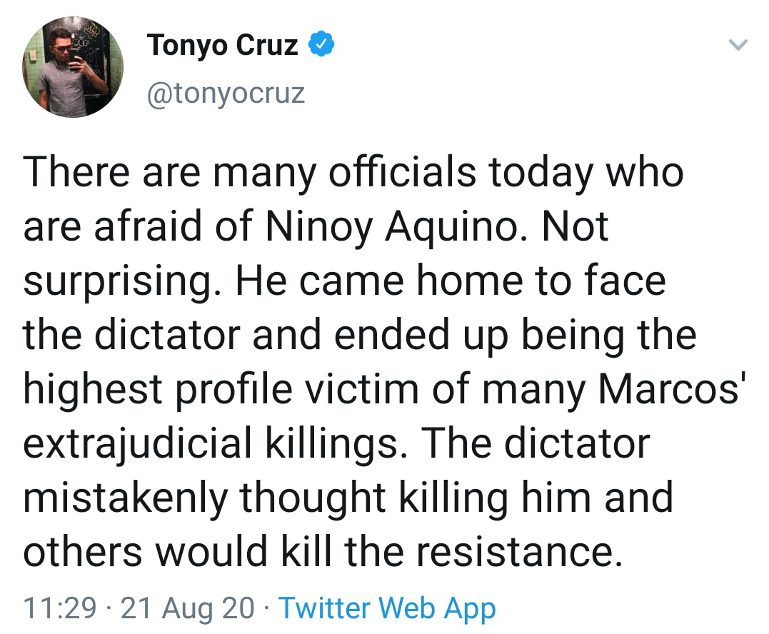 There are many officials today who are afraid of Ninoy Aquino. Not surprising. He came home to face the dictator and ended up being the highest profile victim of many Marcos' extrajudicial killings. The dictator mistakenly thought killing him and others would kill the resistance.