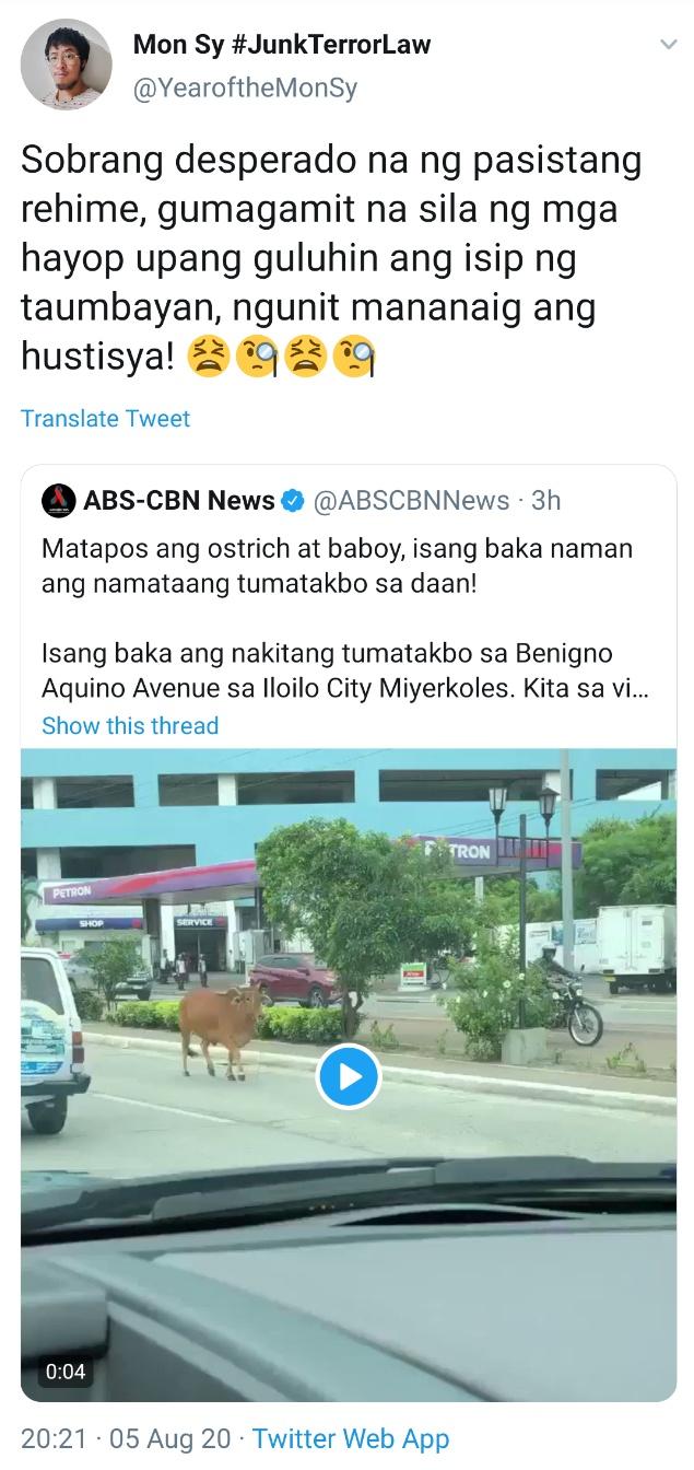 Sobrang desperado na ng pasistang rehime, gumagamit na sila ng mga hayop upang guluhin ang isip ng taumbayan, ngunit mananaig ang hustisya!
