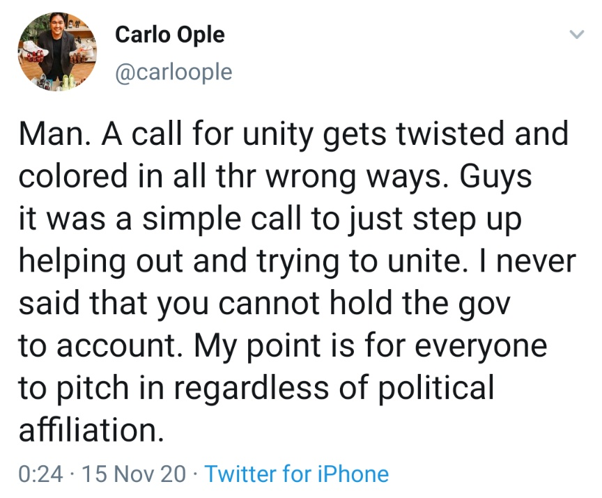 Man. A call for unity gets twisted and colored in all thr wrong ways. Guys it was a simple call to just step up helping out and trying to unite. I never said that you cannot hold the gov to account. My point is for everyone to pitch in regardless of political affiliation.