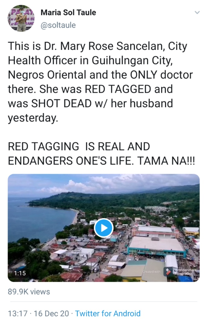 This is Dr. Mary Rose Sancelan, City Health Officer in Guihulngan City, Negros Oriental and the ONLY doctor there. She was RED TAGGED and was SHOT DEAD w/ her husband yesterday. RED TAGGING  IS REAL AND ENDANGERS ONE'S LIFE. TAMA NA!!!