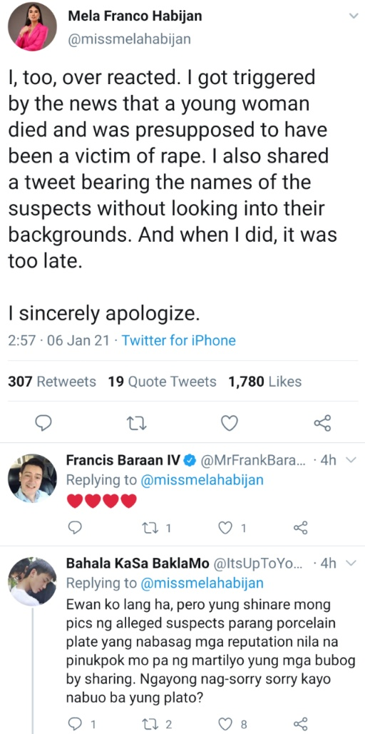 I, too, over reacted. I got triggered by the news that a young woman died and was presupposed to have been a victim of rape. I also shared a tweet bearing the names of the suspects without looking into their backgrounds. And when I did, it was too late. I sincerely apologize.