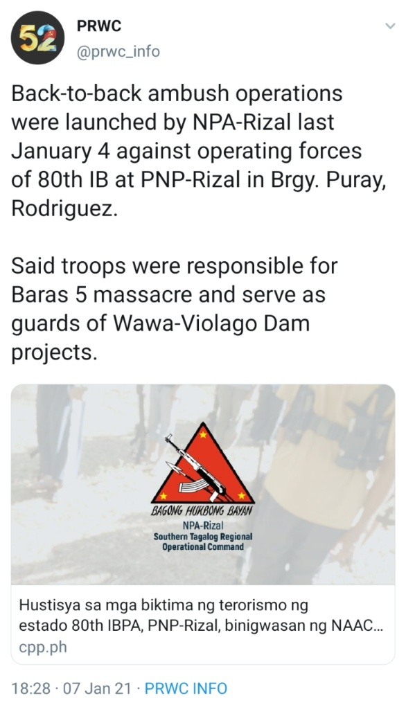 Back-to-back ambush operations were launched by NPA-Rizal last January 4 against operating forces of 80th IB at PNP-Rizal in Brgy. Puray, Rodriguez. Said troops were responsible for Baras 5 massacre and serve as guards of Wawa-Violago Dam projects.