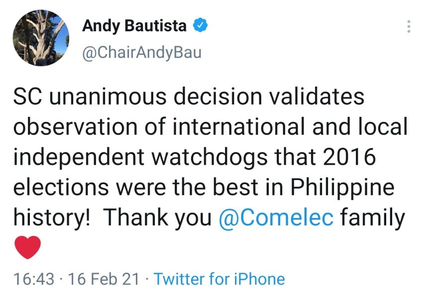 SC unanimous decision validates observation of international and local independent watchdogs that 2016 elections were the best in Philippine history!  Thank you @Comelec family