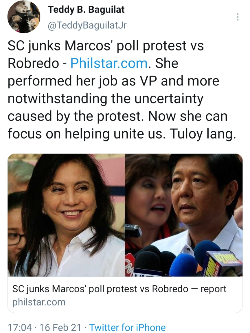 SC junks Marcos' poll protest vs Robredo - She performed her job as VP and more notwithstanding the uncertainty caused by the protest. Now she can focus on helping unite us. Tuloy lang.
