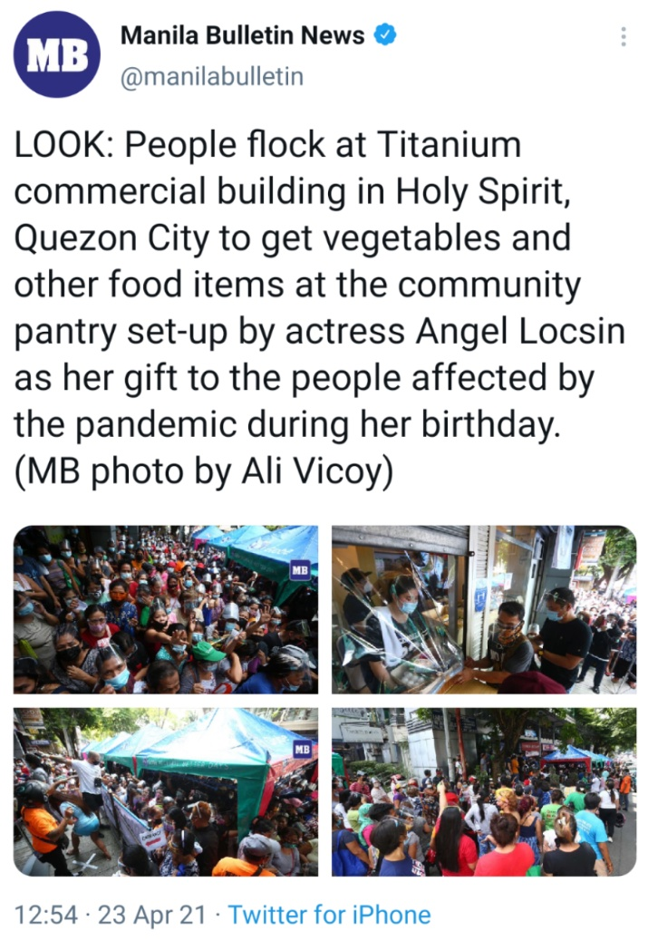 LOOK: People flock at Titanium commercial building in Holy Spirit, Quezon City to get vegetables and other food items at the community pantry set-up by actress Angel Locsin as her gift to the peopleaffected by the pandemic during her birthday. (MB photo by Ali Vicoy)