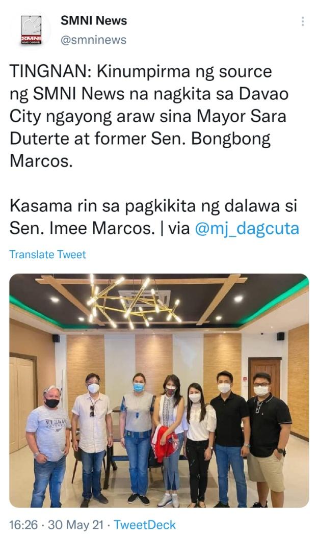 TINGNAN: Kinumpirma ng source ng SMNI News na nagkita sa Davao City ngayong araw sina Mayor Sara Duterte at former Sen. Bongbong Marcos. Kasama rin sa pagkikita ng dalawa si Sen. Imee Marcos. via @mj_dagcuta