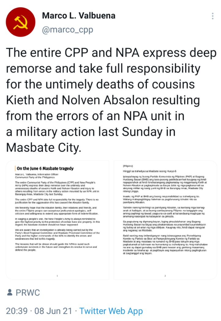 The entire CPP and NPA express deep remorse and take full responsibility for the untimely deaths of cousins Kieth and Nolven Absalon resulting from the errors of an NPA unit in a military action last Sunday in Masbate City.