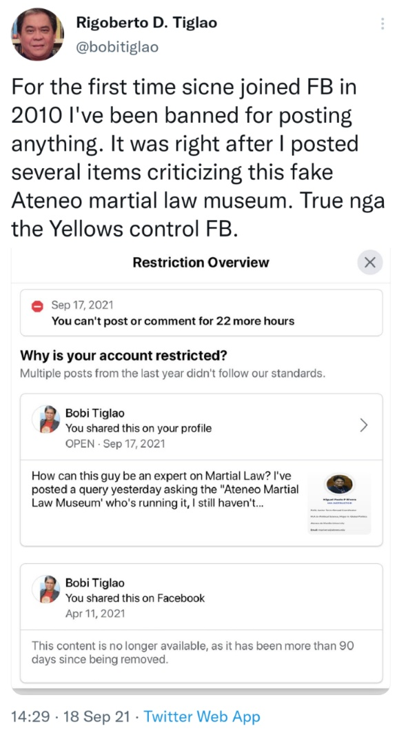 For the first time sicne joined FB in 2010 I've been banned for posting anything. It was right after I posted several items criticizing this fake Ateneo martial law museum. True nga the Yellows control FB.