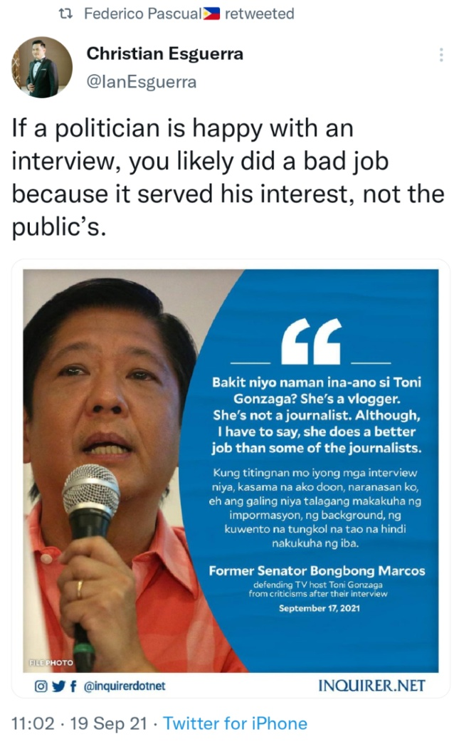 If a politician is happy with an interview, you likely did a bad job because it served his interest, not the public's.
