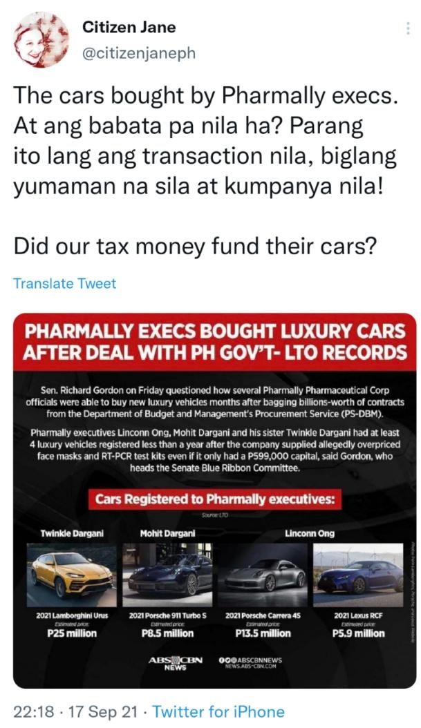The cars bought by Pharmally execs. At ang babata pa nila ha? Parang ito lang ang transaction nila, biglang yumaman na sila at kumpanya nila! Did our tax money fund their cars?